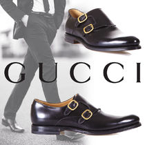 GUCCI Monk Plain Leather Loafers & Slip-ons