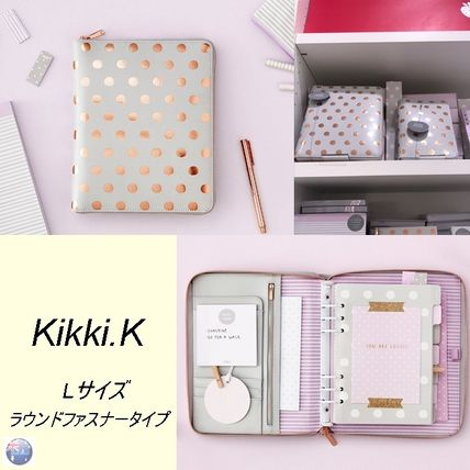Kikki.K L size/leather pocketbook Lovely / light grey / gold