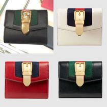 GUCCI Sylvie Plain Leather Folding Wallets