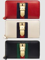GUCCI Sylvie Plain Leather Long Wallets