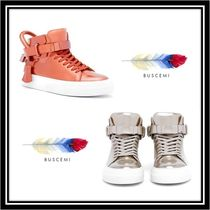 BUSCEMI Street Style Plain Leather Elegant Style Low-Top Sneakers
