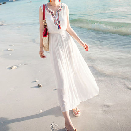 Stitch Embroidery Long dress with Tassel dress