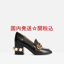 GUCCI Stripes Square Toe Studded Leather Block Heels Elegant Style