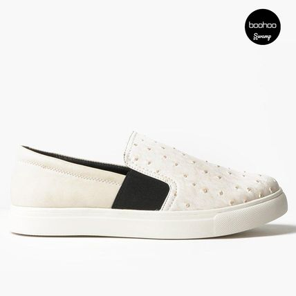 boohoo fakecrocoskin Slip-on white