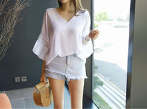 Lace-up Casual Style Chiffon Plain Medium Short Sleeves