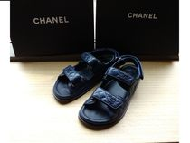 e4425948a467 CHANEL ICON Casual Style Plain Leather Footbed Sandals Flat Sandals