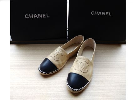 CHANEL TRAVEL Platform Casual Style Plain Leather Espadrille Shoes