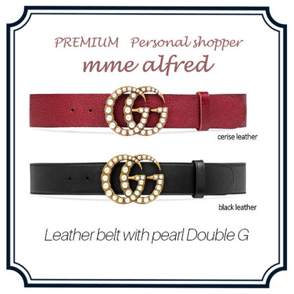 Pearl Double G Leather Belt