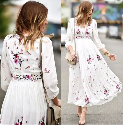Chicwish Flower Patterns Maxi V-Neck Long Sleeves Cotton Long Dresses