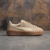 PUMA SUEDE Platform Round Toe Casual Style Suede Street Style Plain