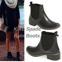 kate spade new york Plain Toe Plain Block Heels Rain Boots Boots