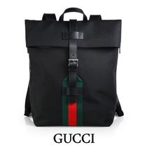 GUCCI Stripes Canvas A4 Plain Backpacks