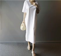 V-Neck Plain Cotton Long Short Sleeves Shirt Dresses
