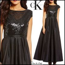 Calvin Klein Maxi Puffed Sleeves Boat Neck Plain Long Party Dresses