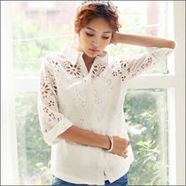 Casual Style Cropped Plain Cotton Medium Shirts & Blouses