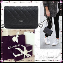 CHANEL MATELASSE Calfskin Chain Plain Party Style Shoulder Bags