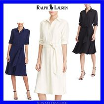 Ralph Lauren Long Sleeves Plain Medium Office Style Shirt Dresses Dresses