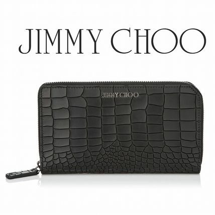 Croco style embossed leather wallet black