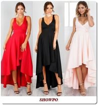 SHOWPO Wrap Dresses Sleeveless Plain Long Party Dresses