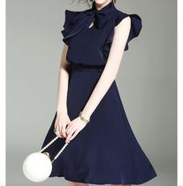 Short A-line Chiffon Sleeveless Plain Elegant Style Dresses