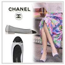 CHANEL Round Toe Casual Style Plain Block Heels Ballet Shoes