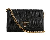 PRADA Black Gaufre Leather Chain Shoulder Bag