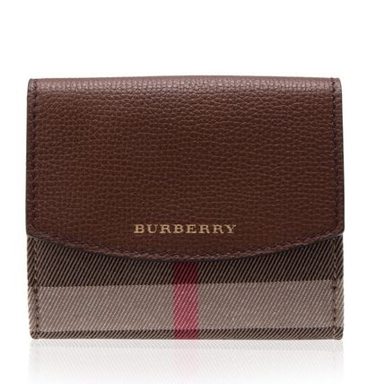 17SS House Check Derby Leather bifold wallet Tan