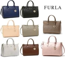 FURLA LINDA Saffiano 2WAY Plain Office Style Totes