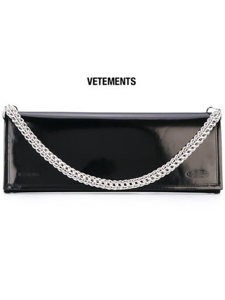 2WAY Chain Plain Leather Party Style Clutches