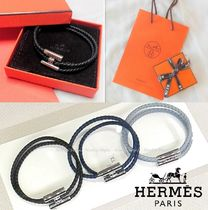 HERMES Bangles Unisex Plain Leather Bracelets