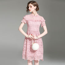 A-line Medium Short Sleeves Lace Party Dresses
