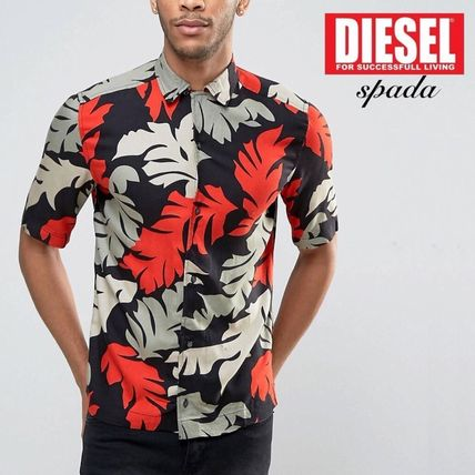 Short Sleeve Leaf Print Jersey Shirt