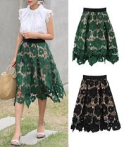 Flared Skirts Flower Patterns Medium Lace Midi Skirts