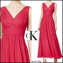 Calvin Klein Maxi Chiffon Sleeveless V-Neck Plain Long Party Dresses