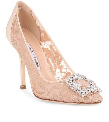 Manolo Blahnik Party Style With Jewels Pointed Toe Pumps & Mules