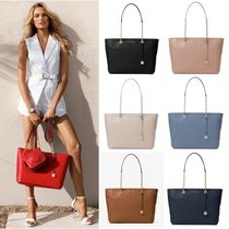 Michael Kors MERCER A4 Chain Plain Leather Office Style Totes
