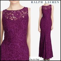 Ralph Lauren Flower Patterns Maxi Sleeveless Boat Neck Long Lace