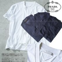 PRADA V-Neck Plain Cotton Short Sleeves V-Neck T-Shirts