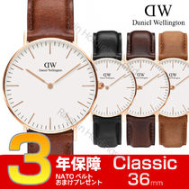 Daniel Wellington Leather Quartz Watches Office Style Analog Watches