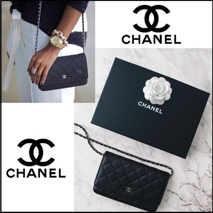 CHANEL Classic Calfskin wallet on chain matelasse silver