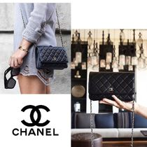 CHANEL MATELASSE CHANEL Classic Lambskin wallet on chain matelasse gold