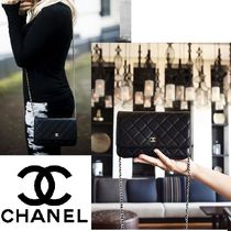 CHANEL CHAIN WALLET Lambskin 2WAY Plain Crossbody Party Bags