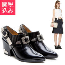 TOGA Casual Style Plain Leather Block Heels High Heel Boots