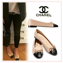 CHANEL Round Toe Casual Style Plain Leather Block Heels