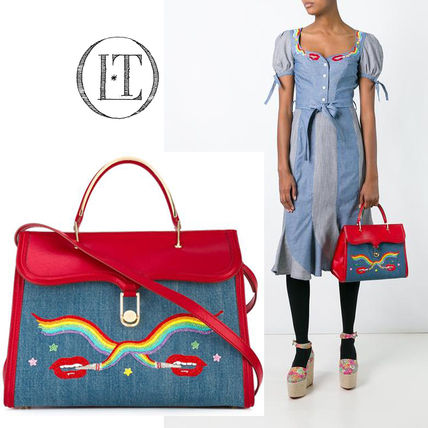 Olympia Le Tan Blended Fabrics Leather Party Style Handbags