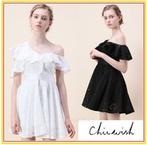Chicwish Short Flared Plain Party Style Lace Dresses