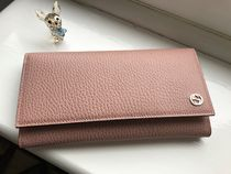 GUCCI Plain Leather Handmade Long Wallets
