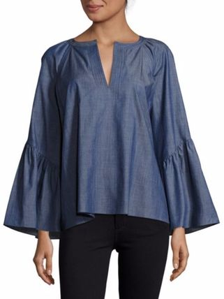 Plain Medium Office Style Puff Sleeves Shirts & Blouses