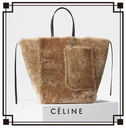 CELINE Cabas Phantom Fur A4 Plain Luxury Brand Bag Totes