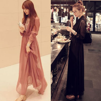 Maxi Chiffon Long Sleeves Plain Long Party Dresses